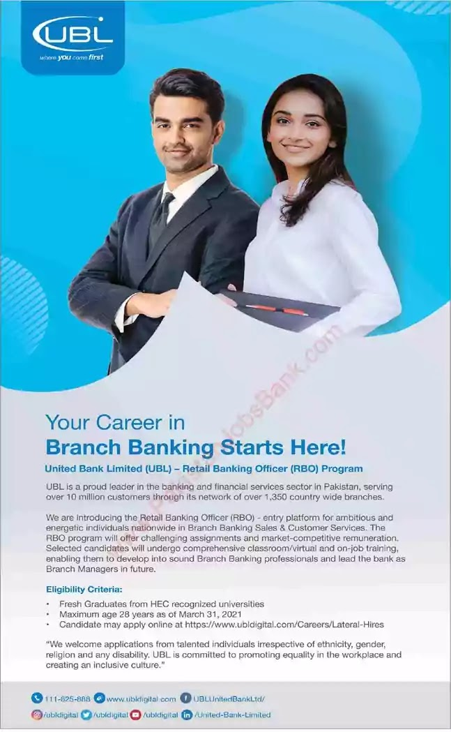 New Jobs in Pakistan United Bank Limited Jobs 2021 | Apply Online
