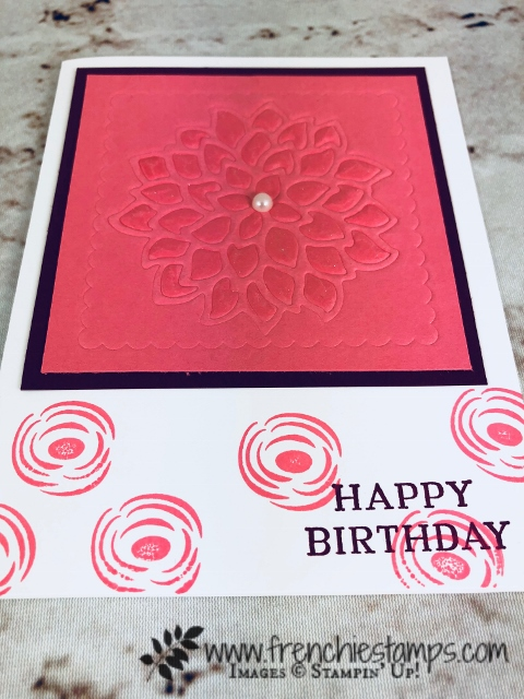 Perennial Birthday, Embossing Mats, May Flower Die, embossing Twice, Stampin'Up!, Frenchiestamps,