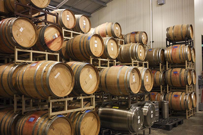Wine barrels at Comstock Wines
