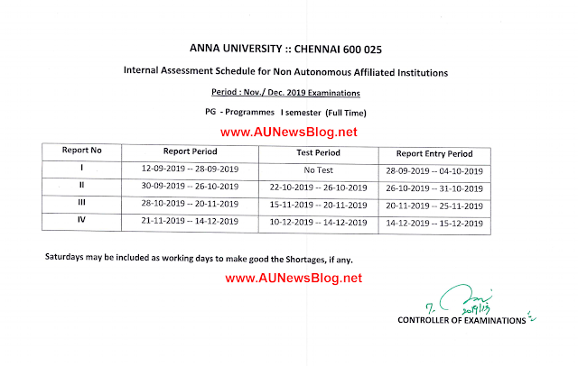 Anna University Nov Dec 2019 Academic Schedule for PG First Semester
