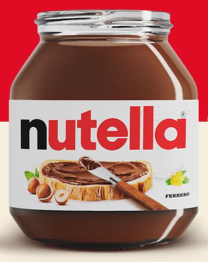Open jar of Nutella spread