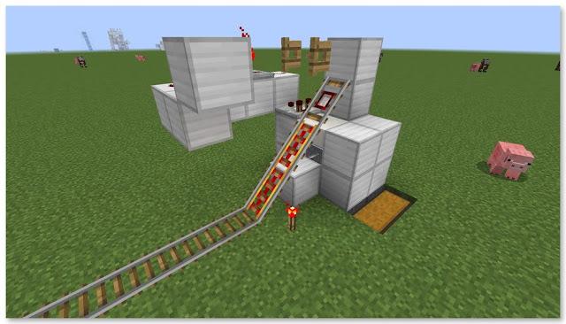 Minecraft 高速トロッコ輸送アイテム荷降ろし駅