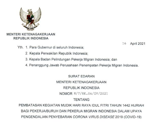 Menaker Terbitkan Edaran Pembatasan Mudik Bagi Pekerja dan Pekerja Migran Indonesia