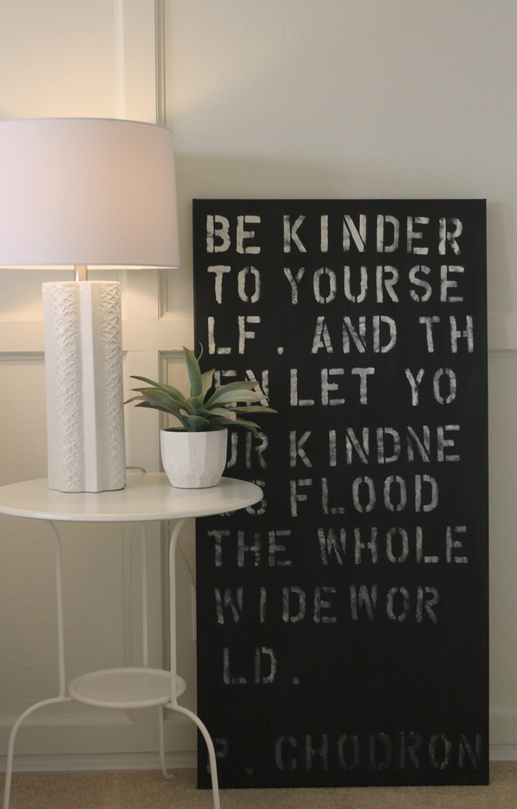 Black and white painted quote panel by Hello Lovely Studio