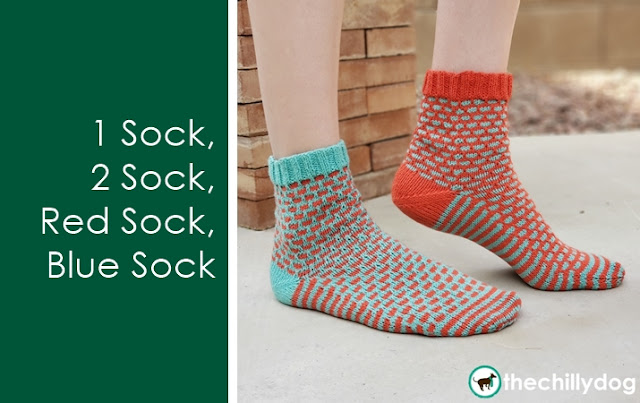 1 Sock, 2 Sock, Red Sock, Blue Sock Knitting Pattern: Learn the thumb version of the longtail cast on
