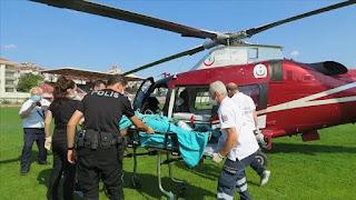 تركيا.. مروحية إسعاف تنقل شابا سوريا تعرض لصدمة كهربائية