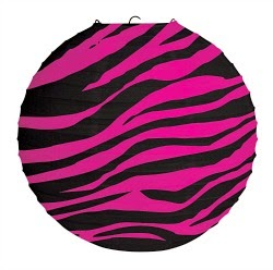 Pink Zebra Print Hanging Lantern