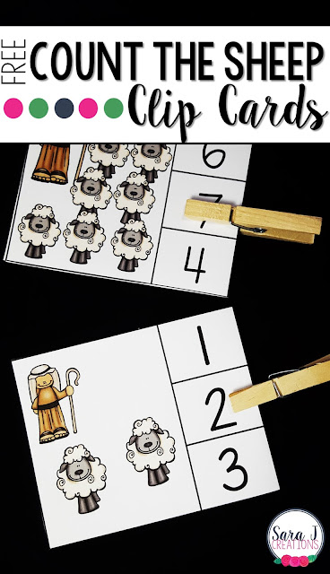 FREE Counting Sheep Clip Cards to practice counting numbers 1-10.  Awesome counting and fine motor practice all in one fun activity.