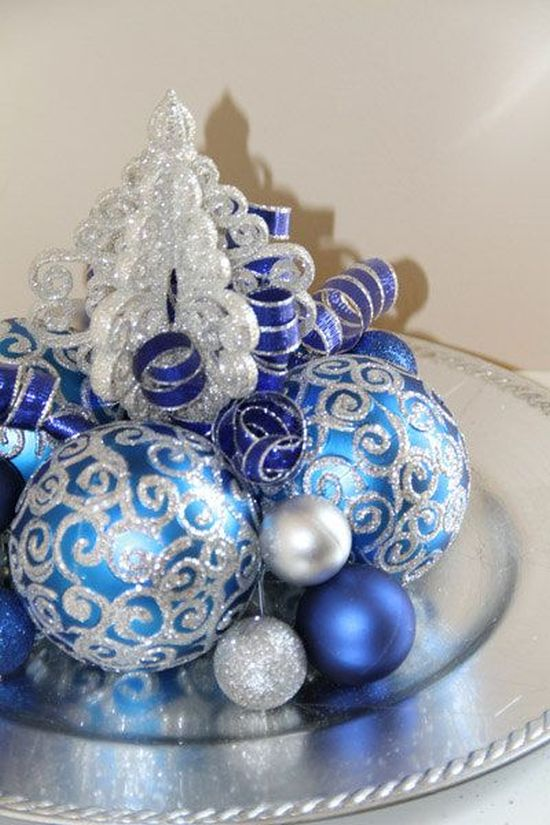 pretty blue and silver Christmas decoration