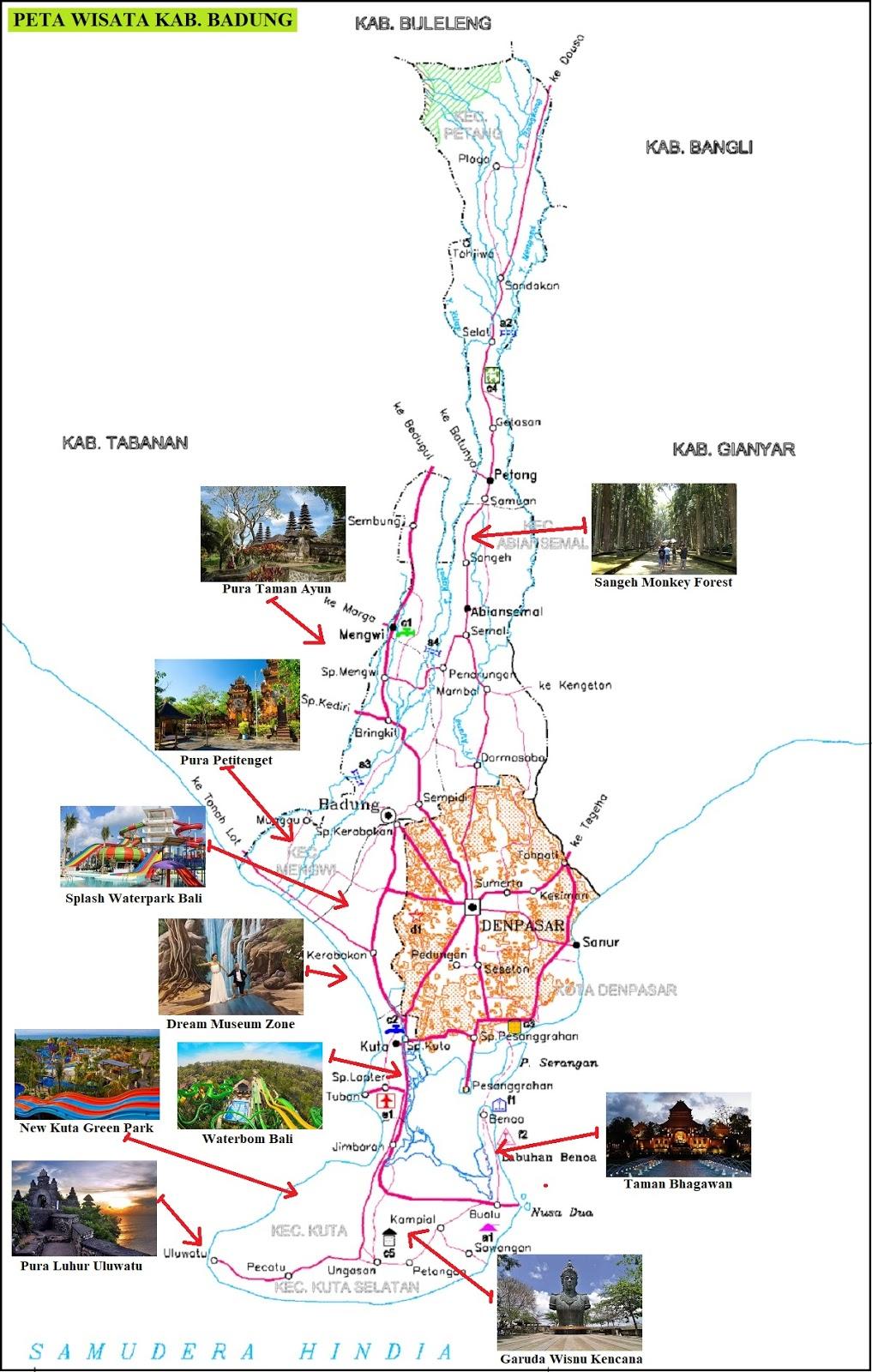 Peta Wisata Kabupaten Badung Bali Dan Keterangannya Peta Hd