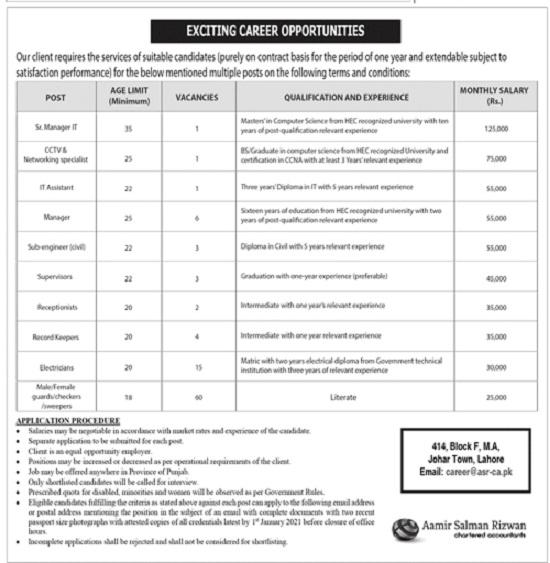 Aamir Salman Rizwan Chartered Accountants Jobs 2020 Lahore