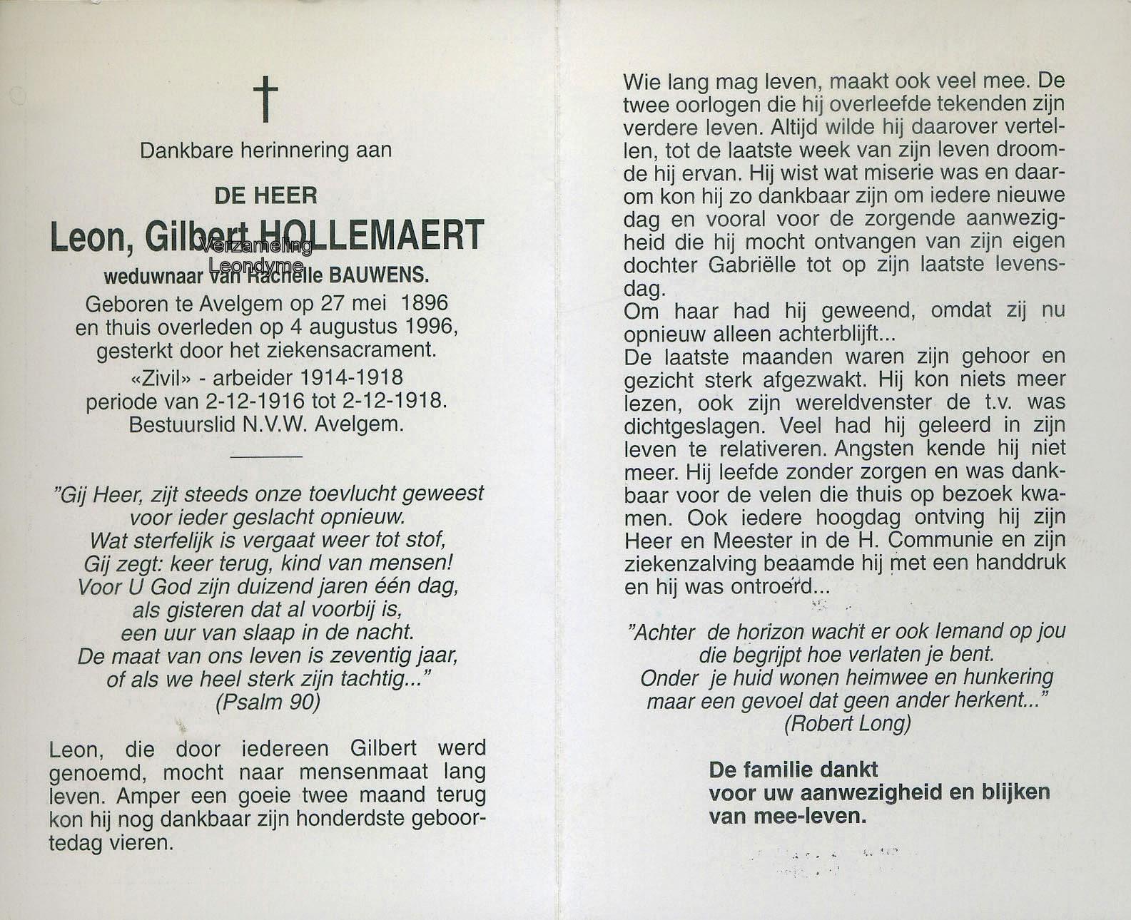 Bidprentje, Leon Hollemaert 1896-1996. Verzameling Leondyme.