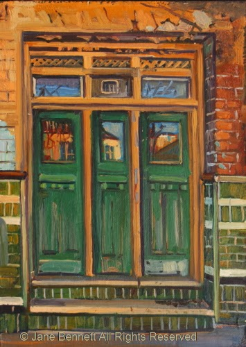 plein air oil painting of door in the derelict Terminus Hotel in Pyrmont  by industrial heritage artist Jane Bennett