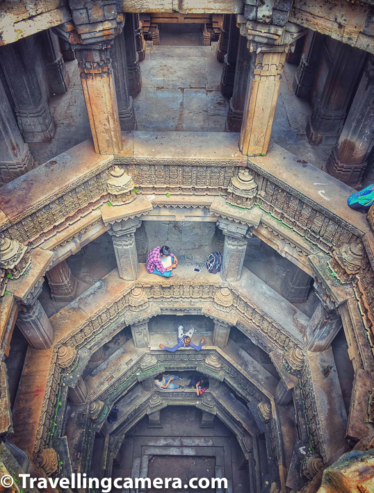 Above photograph is clicked from the top of the stepwell and you can count the levels in has along with square section in the bottom which used to contain water.
