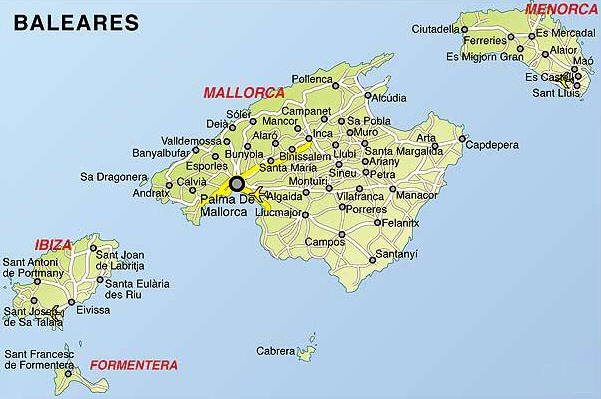 Cartina Geografica Spagna E Isole.Palma Di Maiorca