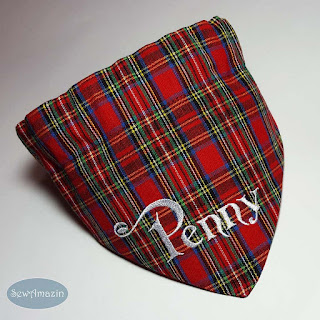 Red Royal Stewart Tartan Plaid Dog Bandana, personalized