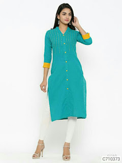 Ethnic Cotton Solid With Embroidered Aline Calf Length Kurtis