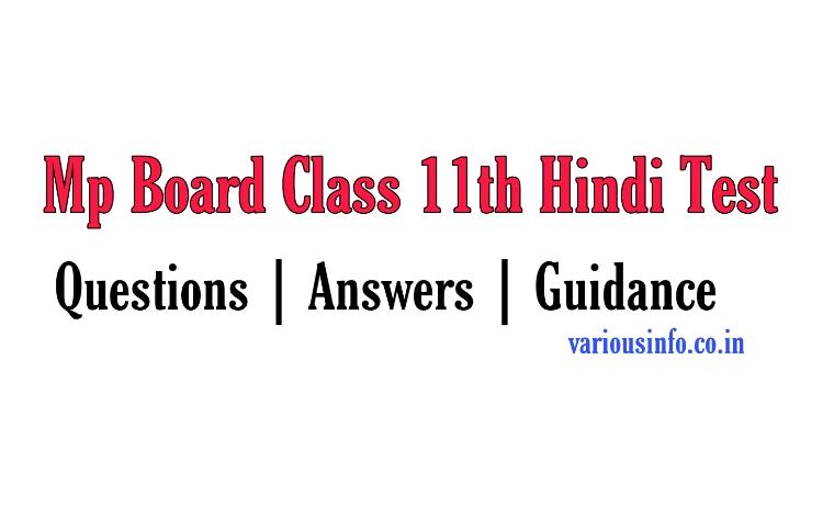 Mp Board Class 11th Hindi Test