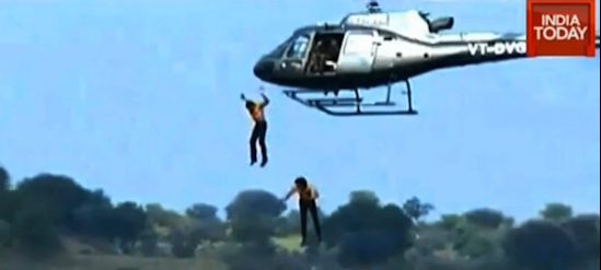 Photos: Chilling Moment Two Actors Leap Out Of Helicopter Before Drowning After Stunt Goes Horribly Wrong