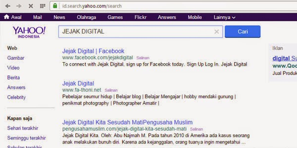 jejak digital yahoo search
