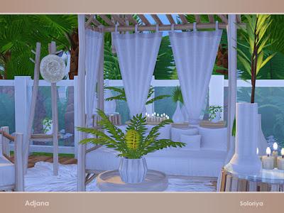 Adjana Аджана гостиная для The Sims 4 Набор мебели для ваших гостиных. Включает в себя 13 объектов, имеет 2 цветовые палитры. Предметы в наборе: - двойной диван, - кресло, - тусбочка, - два журнальных столика, -- вешалка, - два комода, - стол в прихожей, - два вида подушек, - подвесной декор, - коврик Автор: soloriya