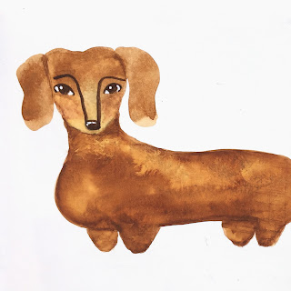 Dachshund illustration in gouache on gesso background - by Amy Lamp