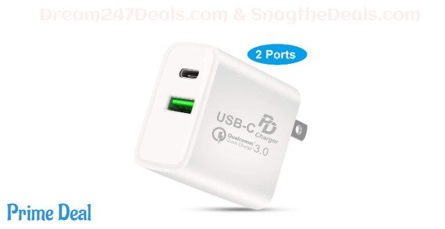 60%off USB C Fast Charger, Qarfee 18W Power Adapter Universal Fast PD Wall Charger, Dual-Port Quick Charge 3.0 Portable USB Charging, Compatible with iPhone 11/11 Pro Max/XR/XS/X, Galaxy S10, Pixel