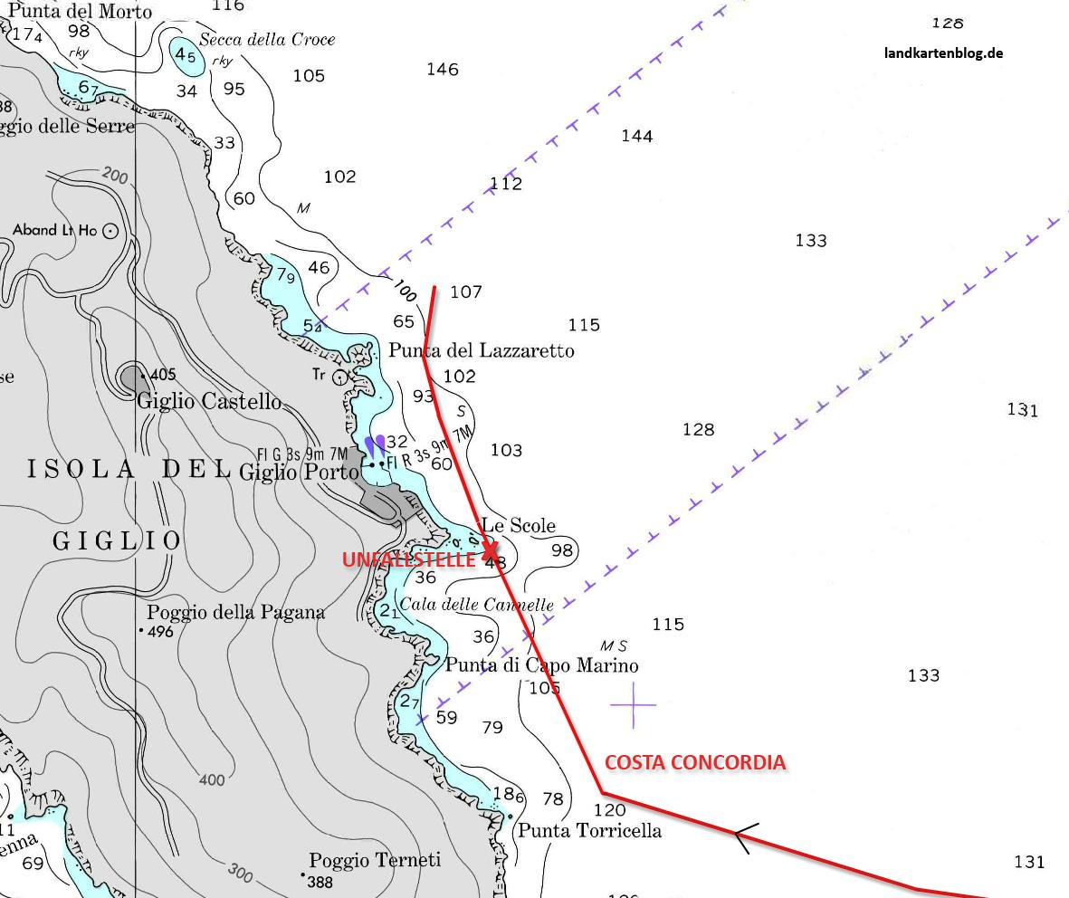 Deutschlandkarte Die Vollstandige Route Der Costa Concordia Vor