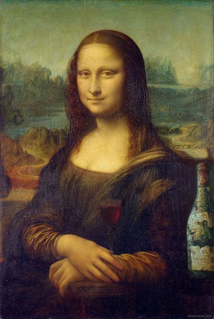 Mona Lisa with a glass of wine and a bottle  revisited by ©LeDomduVin 2020