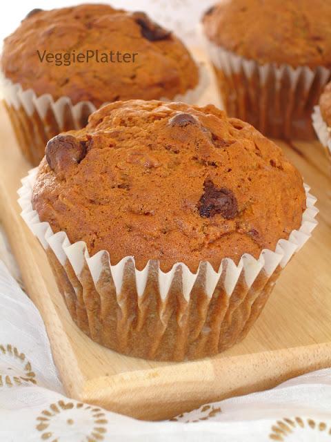 Veggie Platter: Eggless Carrot - Chocolate Chip Muffins