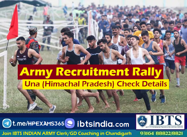Army Recruitment Rally at Una, Himachal Pradesh - (Apply Online) Last Date:13/02/2021