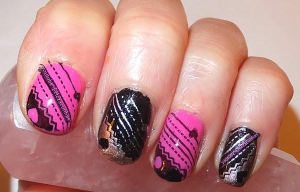manicure coracoes rosa e preto