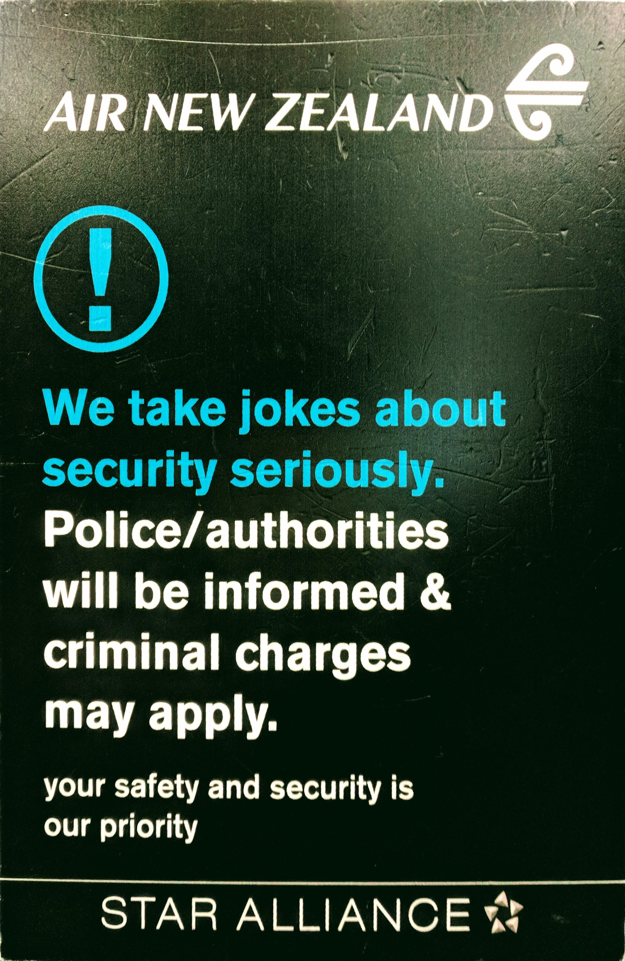 Air NZ 'no jokes' sign