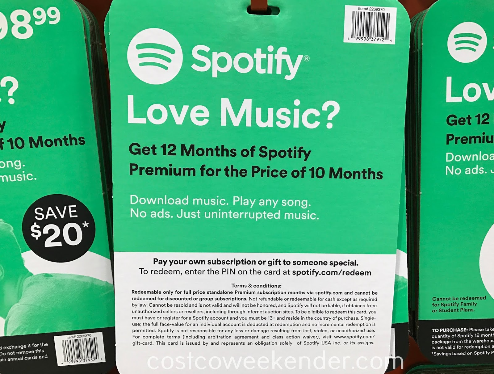Costco 1271992 - Spotify 12-month Premium Subscription: great for any music lover