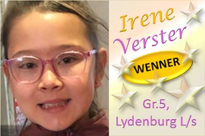 Irene Verster praat puik en wen vanjaar WEEREENS die redenaars by Laerskool Lydenburg! Baie geluk, Irene!