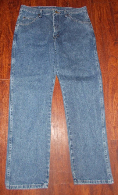 Men's Vintage Wrangler Regular Fit Denim Blue Jeans