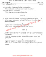 Health Physical and Yoga Education B.Ed Question Paper