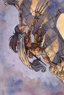 A halfling rogue climbing from some 3rd edition book.