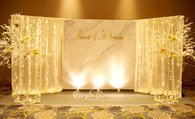 marble backdrop, winter, wedding, malaysia, kuala lumpur, save the date, tie the knot, vendor, supplier, stage, dessert table, branches, petaling jaya, ICC Pudu, ballroom, hotel, decoration, decorator, wedding planner, fairy lighting, elegant, grey carpet, red carpet