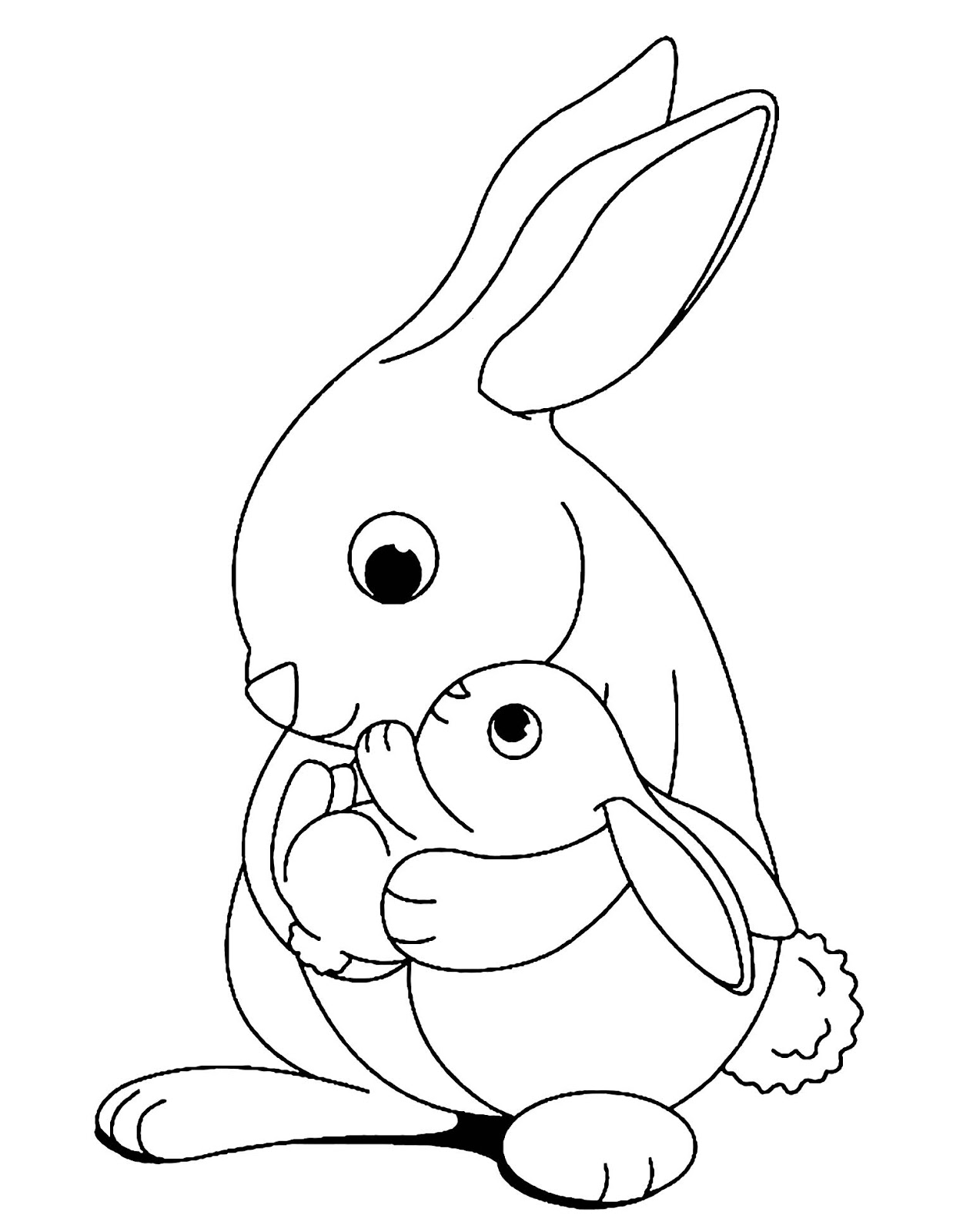 Tranh tô màu thỏ mẹ âu yếm thỏ con