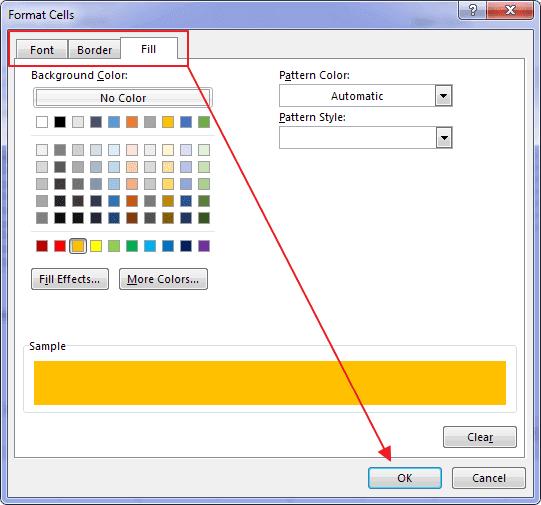 Format Cells Window Excel