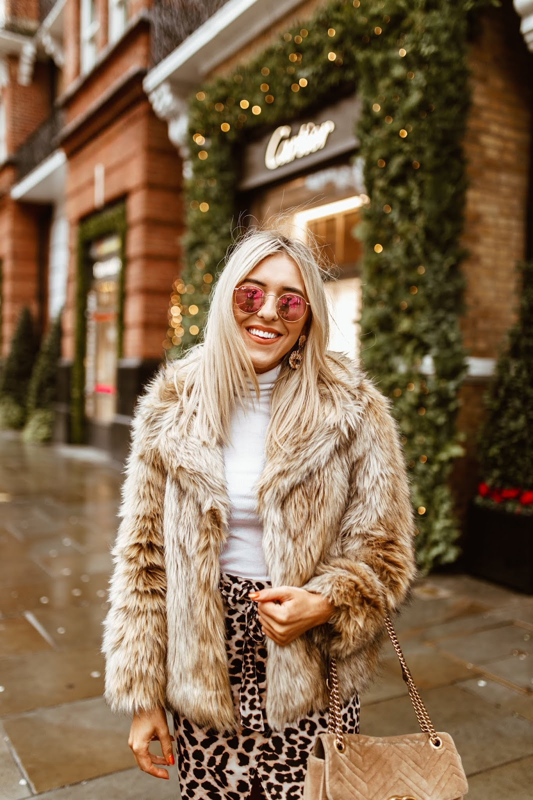 faux fur brown coat
