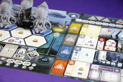 anachrony boardgame tableau with mechs