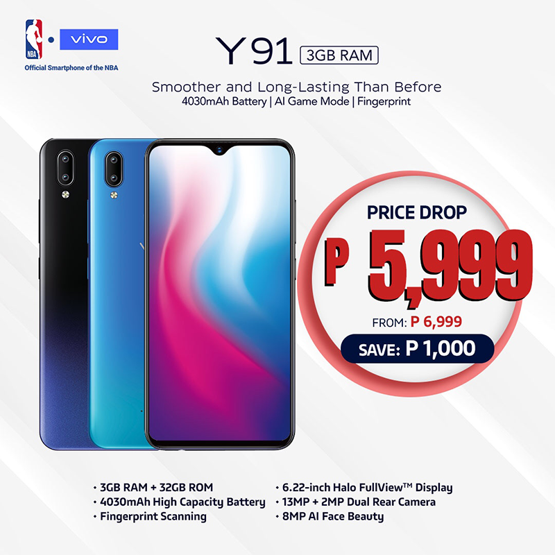 The Vivo Y91 now retails for only PHP 5,999