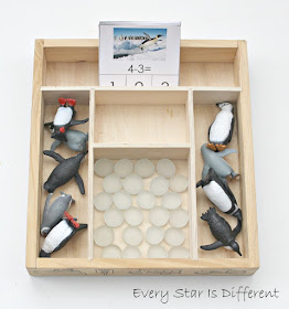 Penguin subtraction activity with free printable.