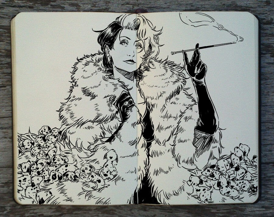 09-101-Dalmatians-Cruella-Meryl-Streep-Gabriel-Picolo-Disney-Fantasy-Ink-Drawings-in-Moleskine-Illustrations-www-designstack-co