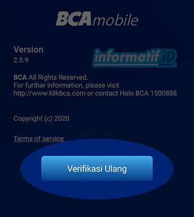 Verifikasi Ulang BCA Mobile - Pilih Verifikasi Ulang