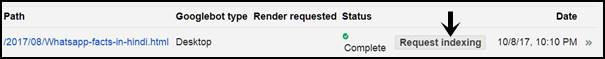 Click on request indexing on google