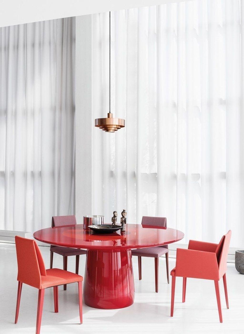 great minimalist interior design with red details