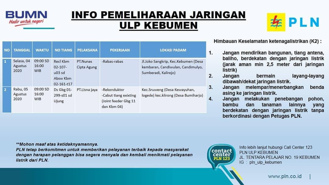 Ini Jadwal Pemadaman Listrik di Kebumen Rabu 5 Agustus 2020